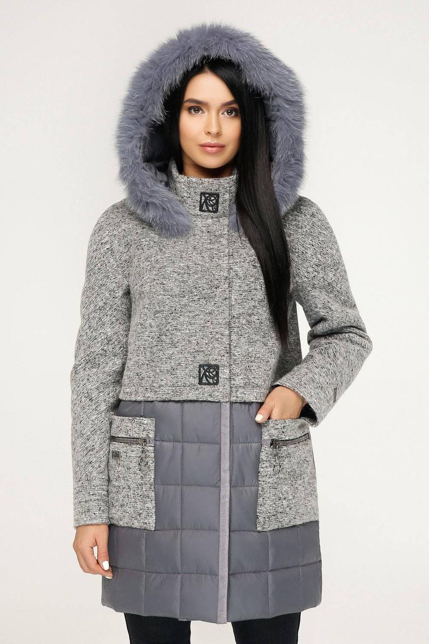 Молодіжне зимове пальто з натуральним хутром песця сірий bee5cde05c7b0