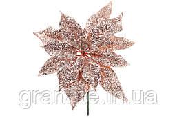 Декоративный цветок Пуансеттия 22.5 см, цвет - медный (24 шт)