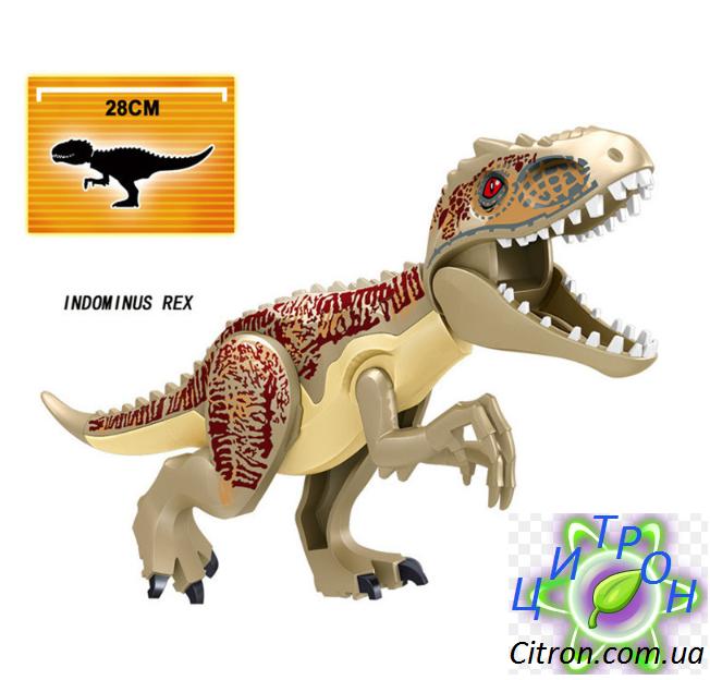 Динозавр Индоминус золотой большой Длина 28 см. Конструктор аналог Лего