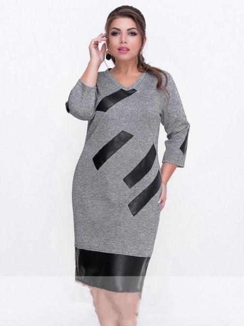 Платье женское короткое с кожаными вставками батал (К25297)