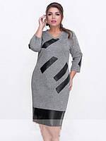 Платье женское короткое с кожаными вставками батал (К25297), фото 1