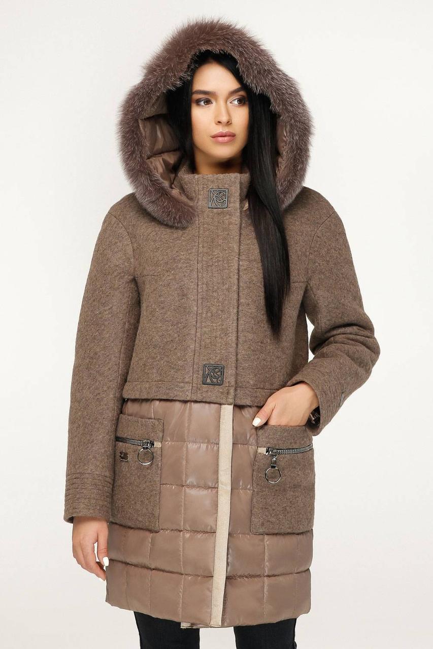 Молодіжне зимове пальто з натуральним хутром песця коричневий 8650a71f2a851