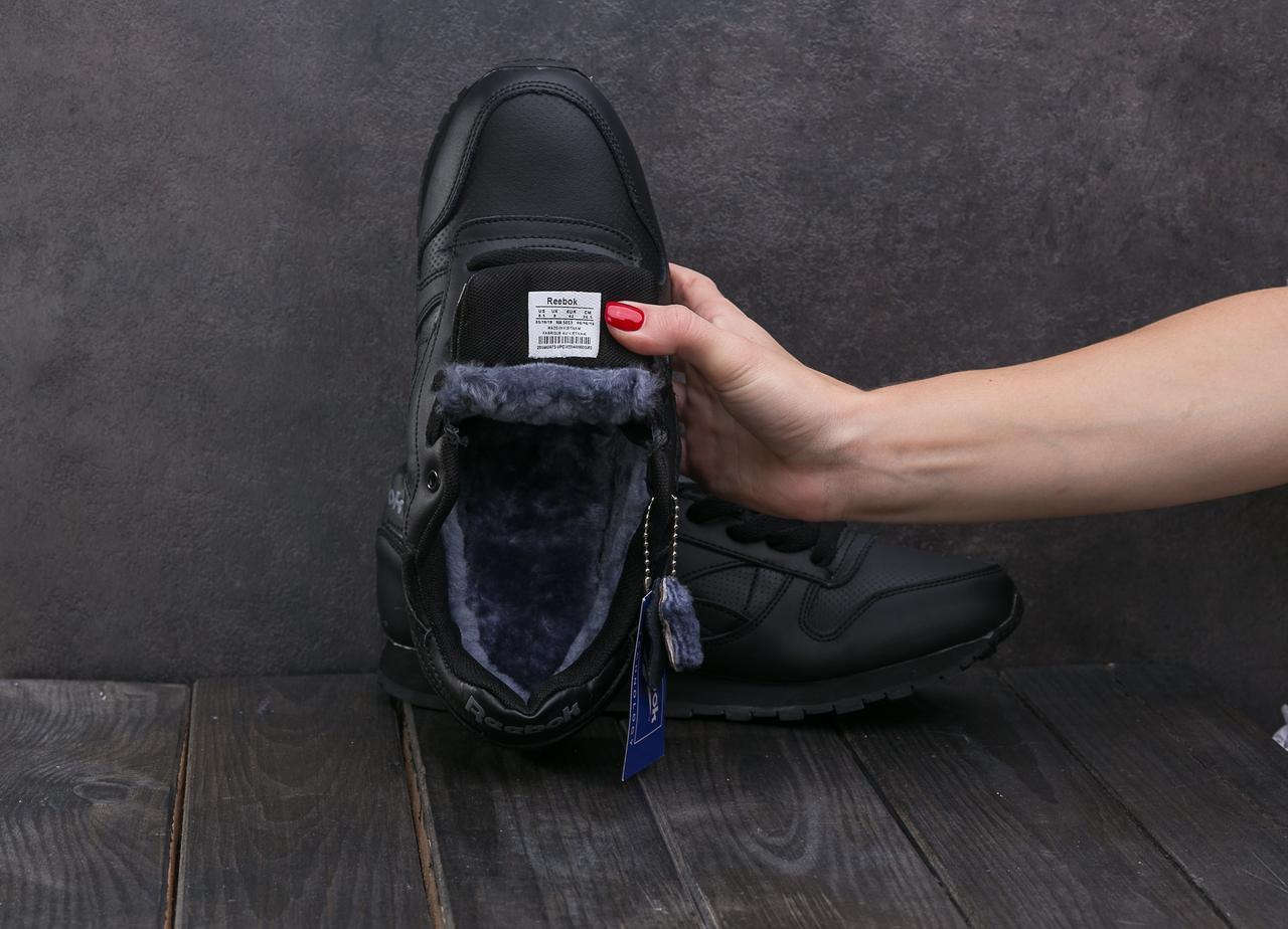 Кроссовки Reebok (зима, кожа прессованая, черный)