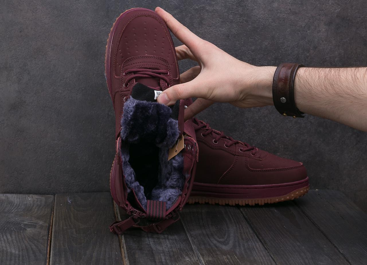 Кроссовки Nike Aiir Force (зима, кожа прессованая, бордовый)