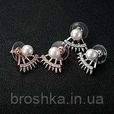 Позолоченные серьги джекеты веер под мочкой ушка, фото 3