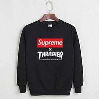 Світшот чорний Supreme х Thrasher   стильна Кофта