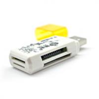 Кардридер универсальный 4в1 MERLION CRD-4YE TF/Micro SD, USB2.0, Purple, OEM Q50