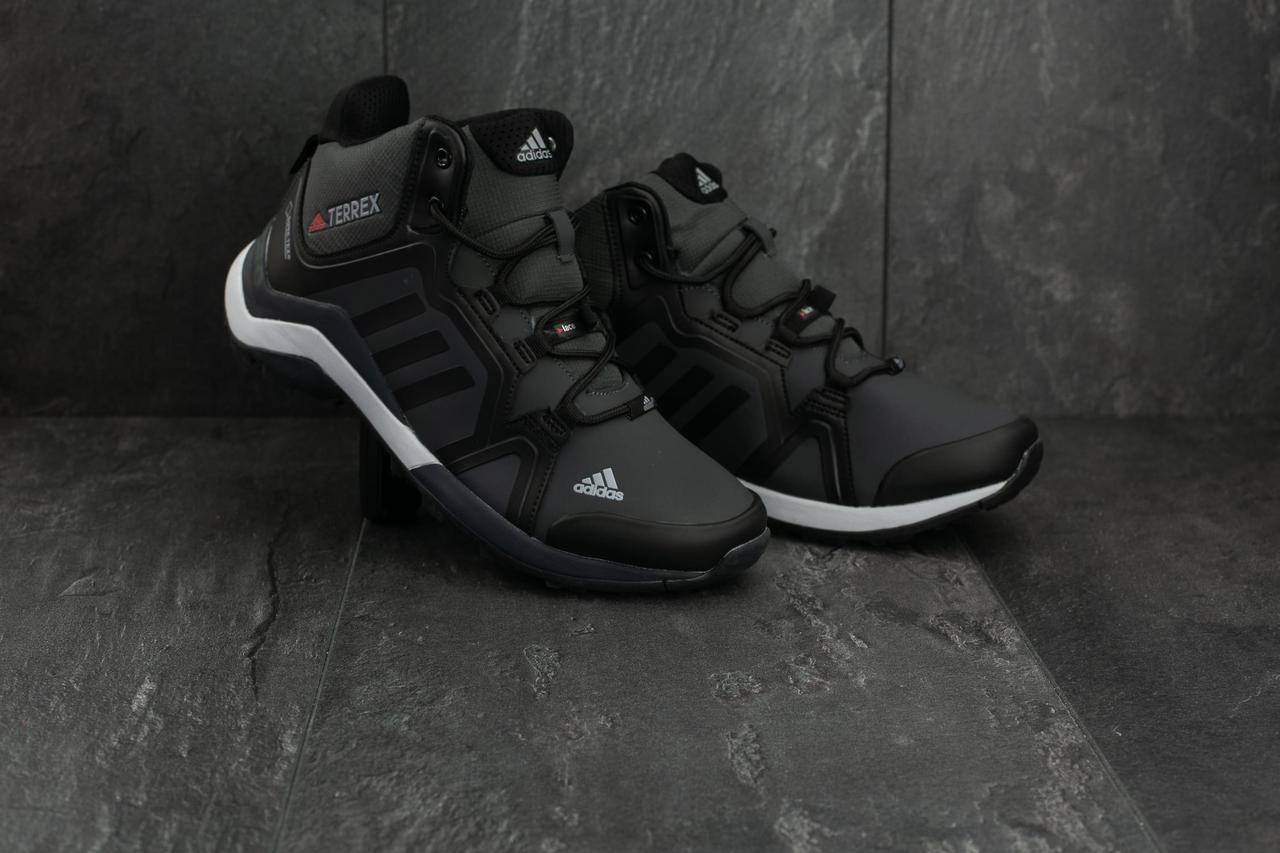 Кроссовки Adidas Terex (зима, кожзам, черно-серый)