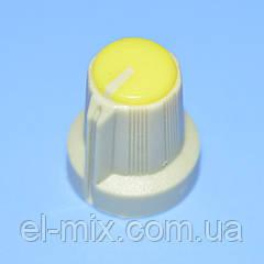 Ручка для потенциометра  AG-1 под звездочку d6мм св.серо-желтая,  Китай