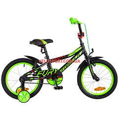 Детский велосипед Formula Fury 16 дюймов черно-зеленый с красным