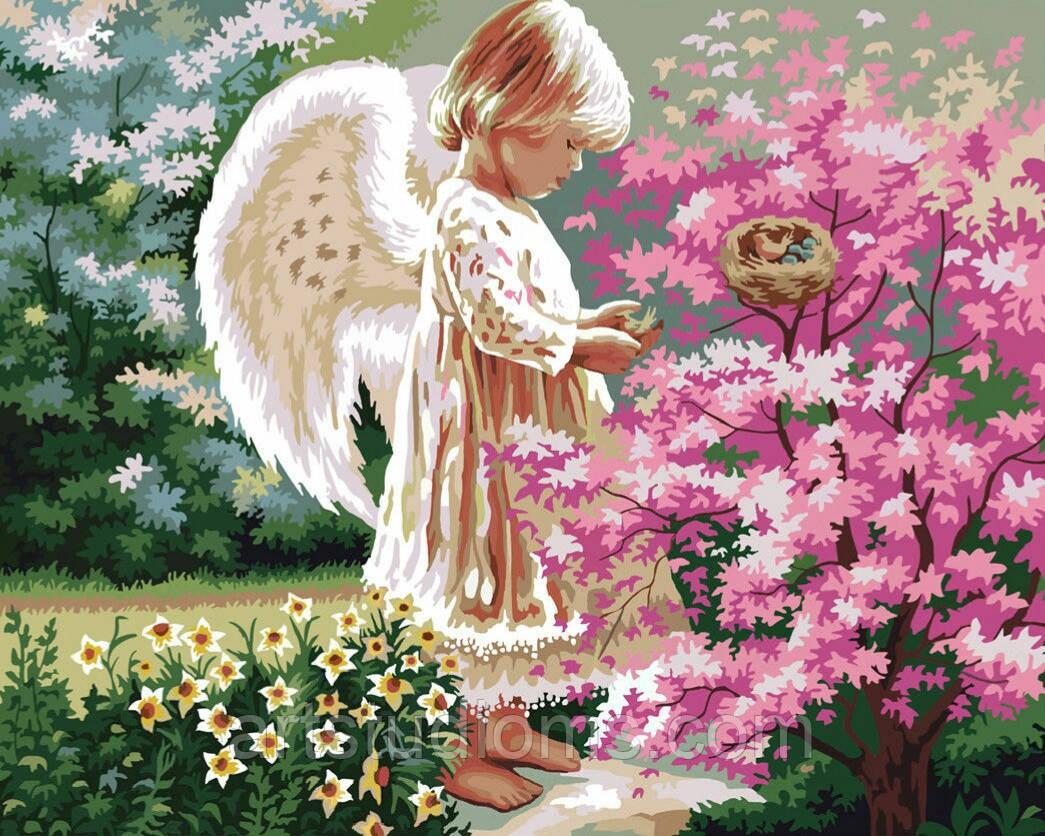Раскраски на холсте Ангелочек и птички  40х50см, Без Коробки