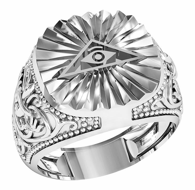 Кольцо мужское серебряное Всевидящее Око 700 750