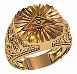 Кольцо мужское серебряное Всевидящее Око 700 750, фото 2