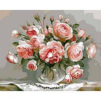 Картина по номерам Розовый букет 40х50см, С Коробкой