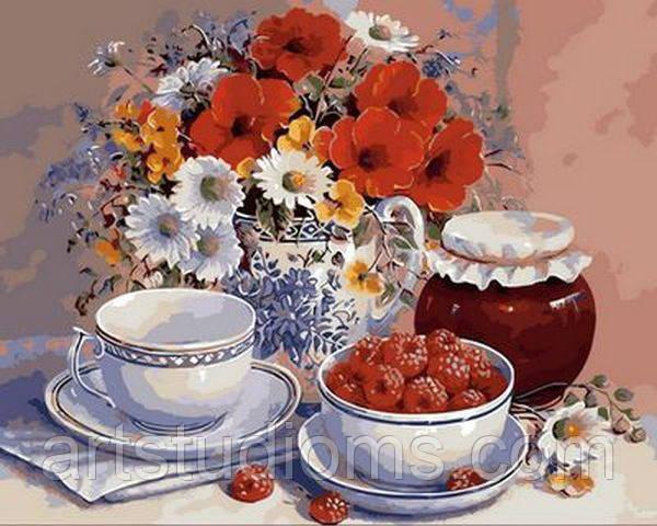 Картины по цифрам Приглашение на чай 40х50см, С Коробкой