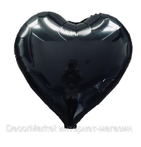 Шар сердце фольгированное, ЧЕРНОЕ  - 45 см (18 дюймов), фото 2