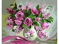 "Набор для творчества ""Букет роз и сирени"" картина по номерам, 40х50см, Без Коробки"