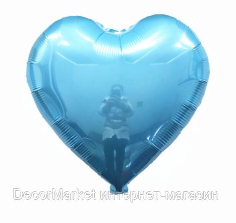 Шар сердце фольгированное, ГОЛУБОЕ - 45 см (18 дюймов), фото 2