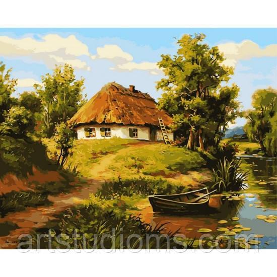 Картина по номерам Домик возле пруда 40х50см, С Коробкой