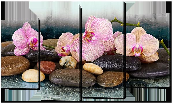 Модульная картина Interno Эко кожа Орхидеи тигровые 140x89см (A764XL)