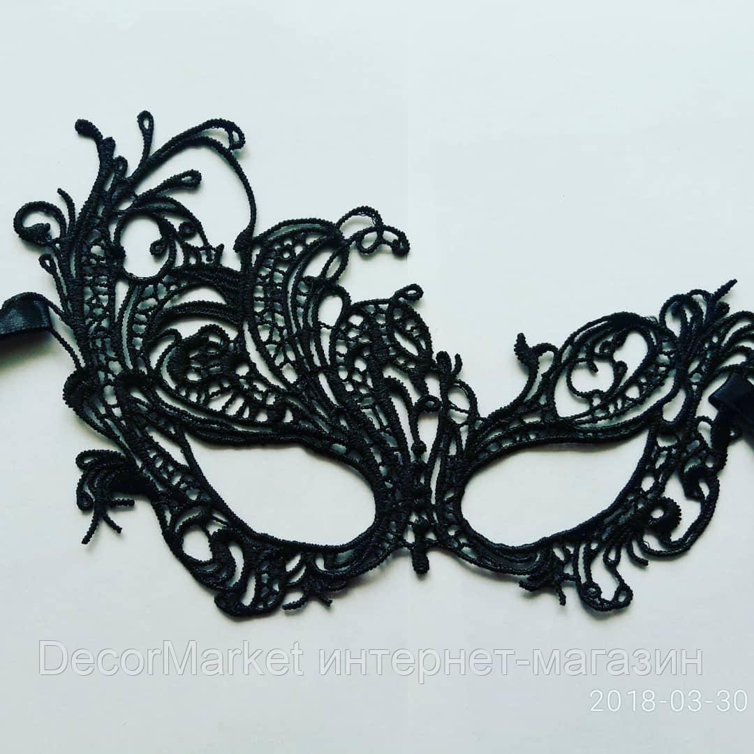 Маска кружевная, карнавальная черная 07