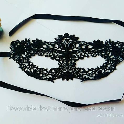 Маска кружевная, карнавальная черная 08, фото 2