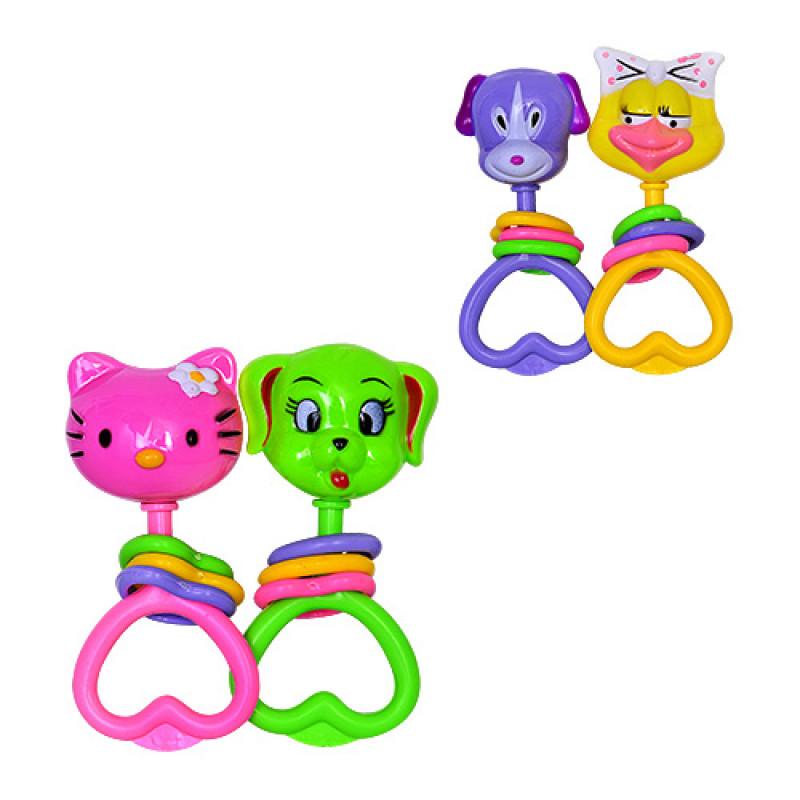 Брязкальце 2038 A-D 2 види, 2 іграшки в наборі, в кульку, 13,5-5-16 см