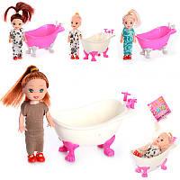 Лялька 8666-3 ванночка 4 види, сітка, 14-5-7 см