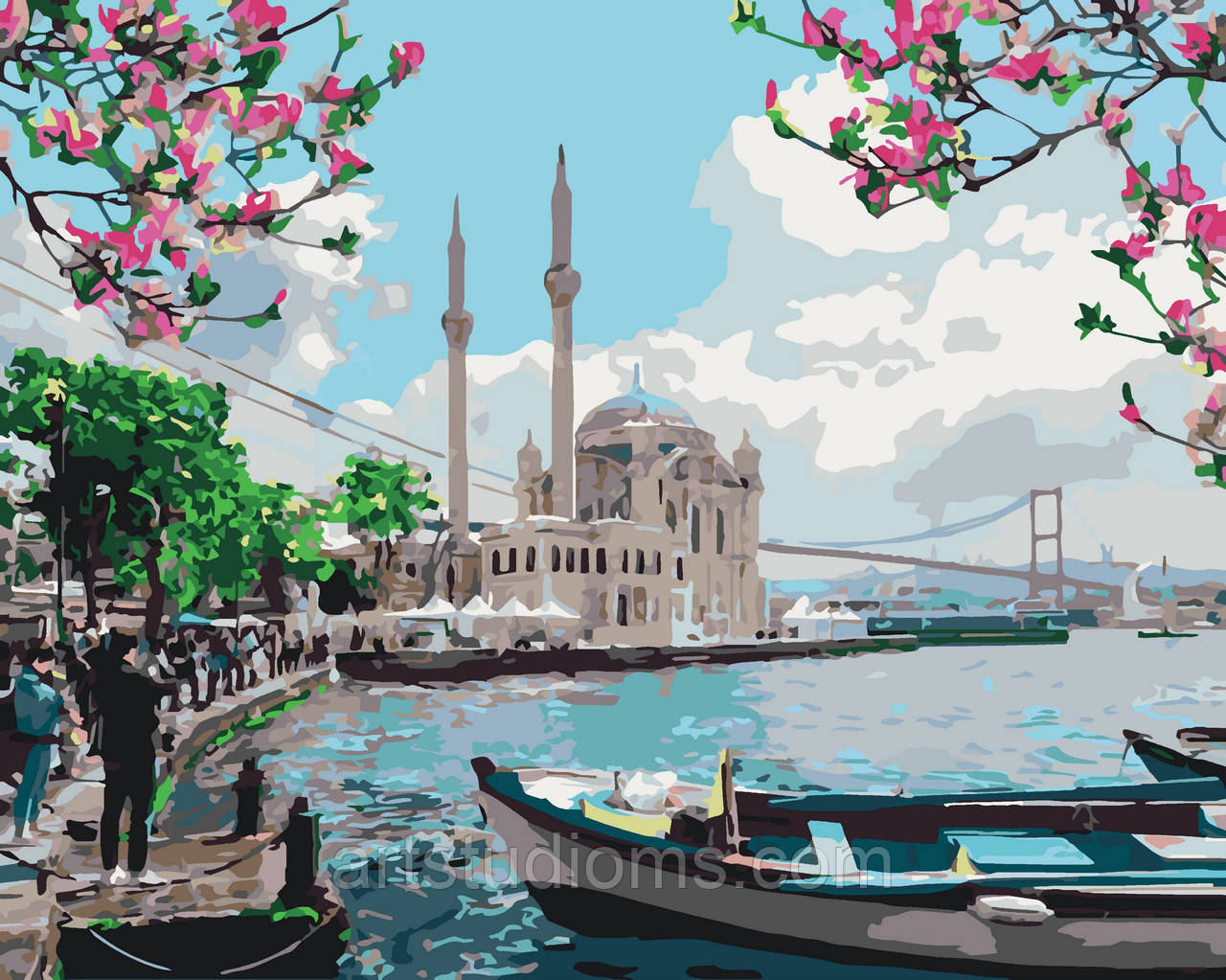 Картина раскраска антистресс Турецкое побережье, 40 х 50 см С Коробкой