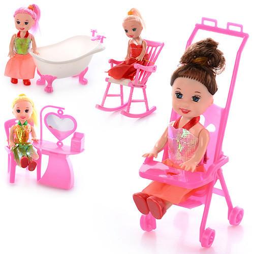 Лялька 9905-86-88 B 4 види, меблі, в кульку, 9-10-2,5 см