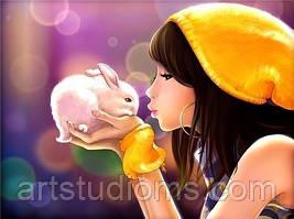 """Картина по номерам """"Девочка с кроликом"""" 40х50см, С Коробкой"""