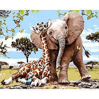 Картина по номерам Слоненок и жираф 40х50см, С Коробкой