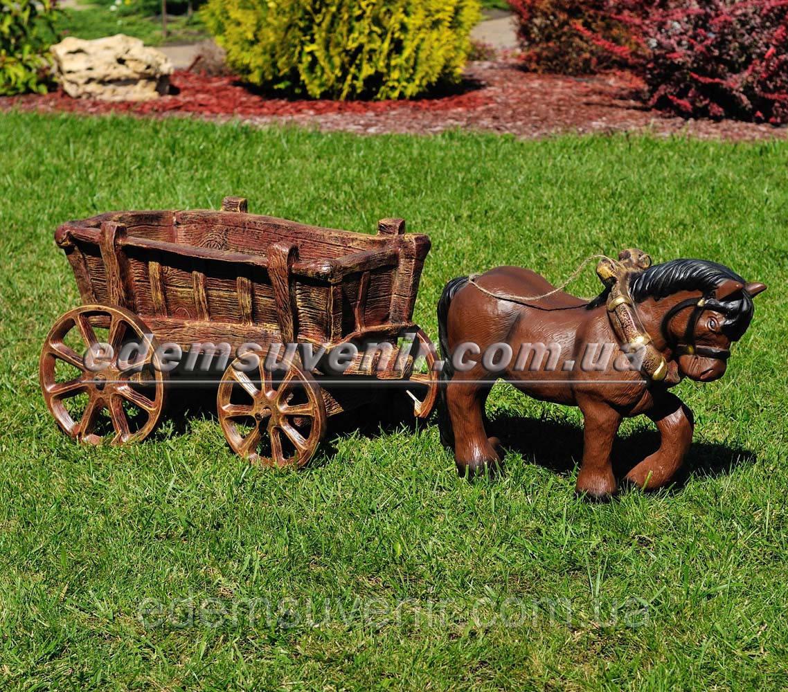 Садовая фигура Лошадка с телегой
