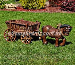 Садовая фигура подставка для цветов Лошадка с телегой, фото 2