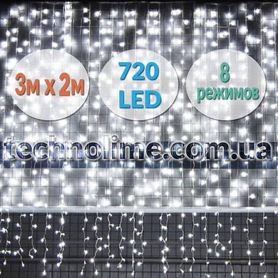 Светодиодная гирлянда Водопад 3х2 м. 720 LED Холодный белый, теплый белый, синий