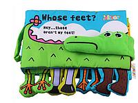 Мягкая книга для малышей. Ноги. Крокодил. Обучающая история на английском языке. jollybaby, фото 1