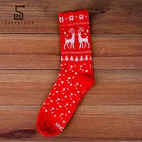 Длинные носки PUNCH - Олени красные