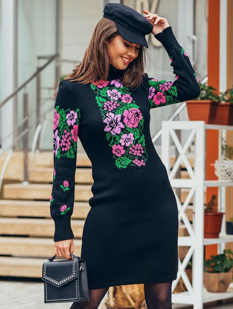 b16a45996fc Теплое вязаное платье-вышиванка с орнаментом