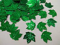 """Паєтки """"листок клена"""" 23*21 мм, упаковка 20 г (біля 185-195 шт). Зелені"""