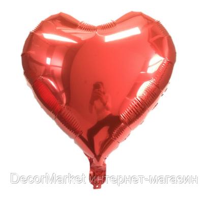 Шар сердце фольгированное, КРАСНОЕ - 25 см (10 дюймов), фото 2