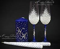 Набор свадебных аксессуаров в жемчуге и стразах (бокалы, свечи)