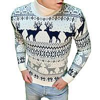 Мужской зимний свитер с оленями белый с черным. Живое фото d9a0e58c1fa7d