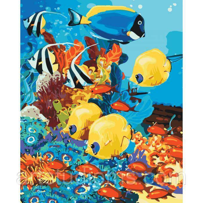 картина раскраска по номерам морское царство 40 х 50 см с коробкой