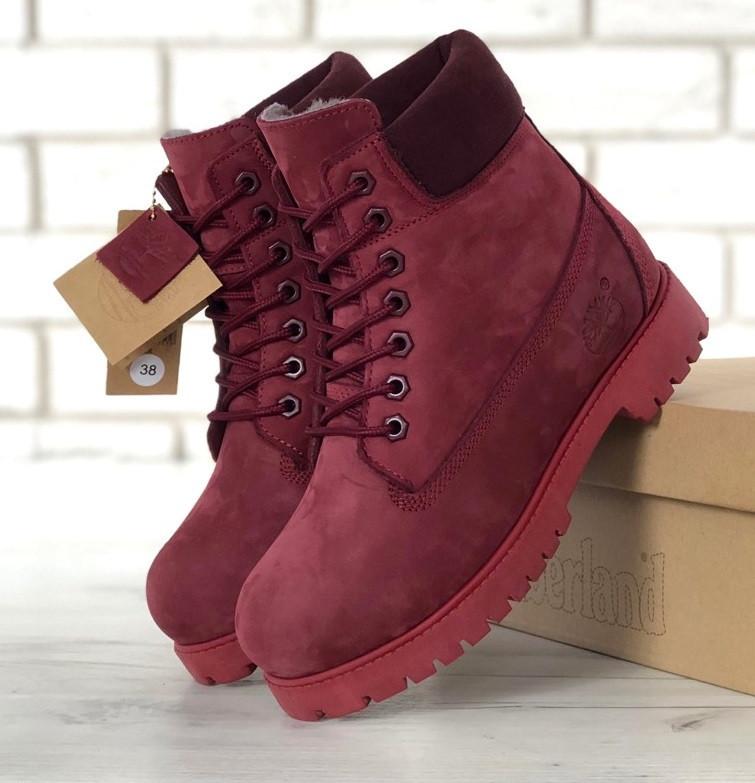 Зимние женские ботинки Timberland 6 inch maroon с мехом (Реплика ААА ... fe395a46d32