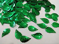 """Паєтки """"литок берези"""" 25*14 мм, упаковка 20 г (біля 255-265 шт). Зелені"""