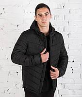 Куртка зимняя мужская с капюшоном black. Живое фото