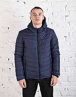 Куртка зимняя мужская с капюшоном blue. Живое фото