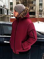 Куртка зимняя мужская с капюшоном красная. Живое фото