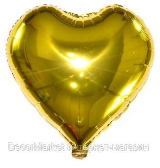 Шар сердце фольгированное, ЗОЛОТО - 13 см (5 дюймов), фото 2