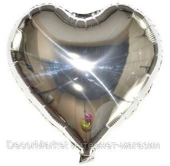 Шар сердце фольгированное, СЕРЕБРО - 13 см (5 дюймов)